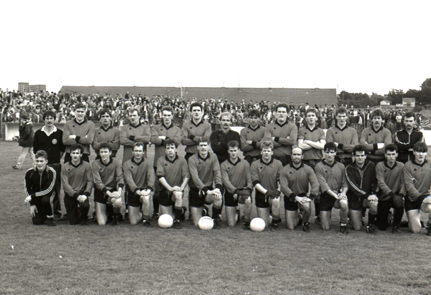 The 1988 senior football team which won the Tyrone championship. Back row - Gerry McNamee, Stevie Quinn, Paul McCann, Eugene Bradley, Damien McSorley, Michael Flanagan, Aidan O'Neill, Gerry Quinn, Eddie Duffy, Seanie Meyler, Liam McSorley, Gareth McCrory, Paul Logue. Front row - Tony McGinn, Gabriel Mulryan, Niall Laird, Paul Friel, Sean MacRory, Paddy Quinn, Paul McElhatton, Damian 'Stal' McSorley, Sean Healy, Kenny Clarke, John McQuaid, Damian O'Neill, Barney McKenny.