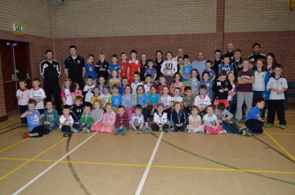 Children and their coaches at Saturday's Gaelic Start session.