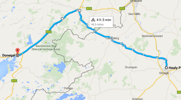 Saturday Sept 12 route - Omagh to Donegal Town