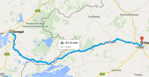 Sunday Sept 13 route - Donegal to Omagh