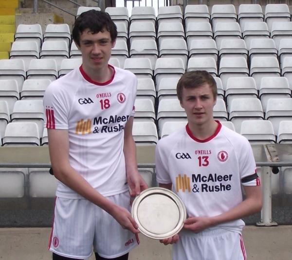 Ciaran Lagan and Liam Flanagan display the Ulster Minor Hurling Shield after helping Tyrone minor hurlers defeat Cavan on Monday.