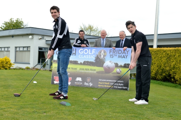 St. Enda's senior players Conan Grugan and Mickey Gallagher put in some practise ahead of this Friday's Club Omagh Golf Classic.