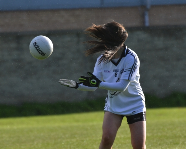 """'I can't see..."""" Action from the girls U14 championship game at St. Patrick's Park"""