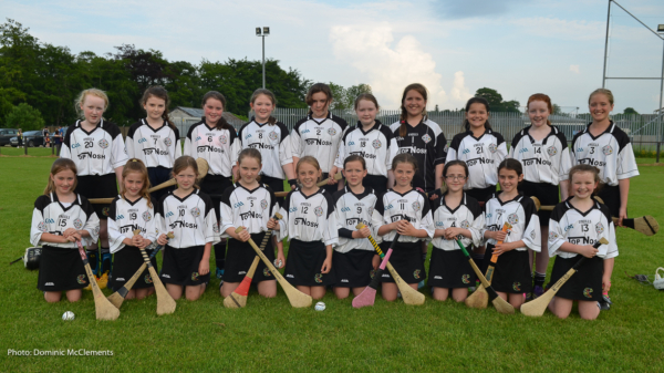 The St. Enda's U12 camogie team which will take part in the 'Caman to Croker' Day in Croke Park next Monday.